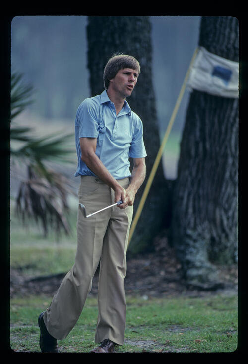 Bill Rogers talking to his wedge shot during the 1982 TPC