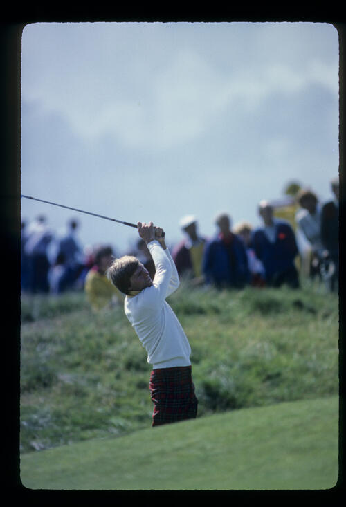 Bill Rogers playing from the rough during the 1982 Open Championship