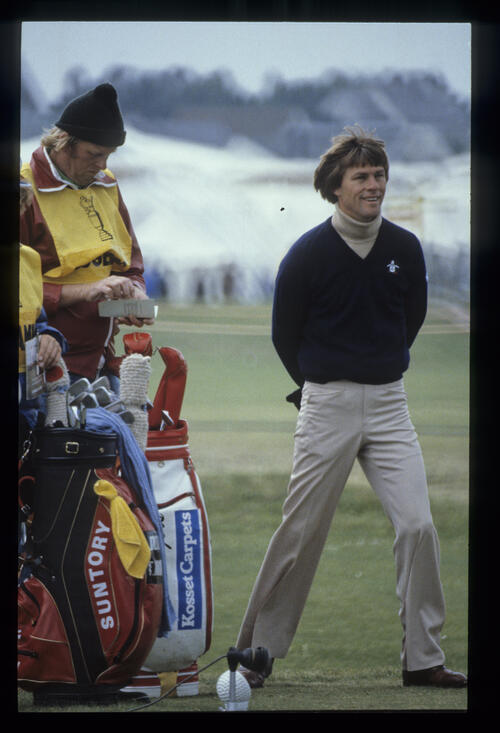 Bill Rogers looking happy on the tee during the 1980 Open Championship