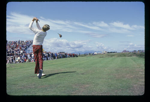 Bill Rogers following through on the tee during the 1980 Open Championship
