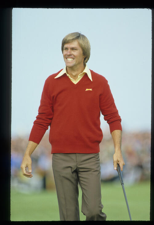 Bill Rogers celebrating on his way to winning the 1981 Open Championship