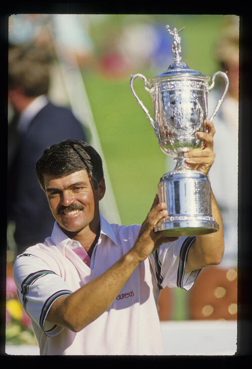 Scott Simpson with the trophy after winning the 1987 US Open