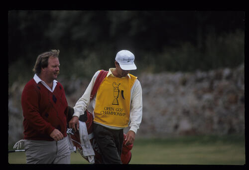 Craig Stadler and his caddie in conversation during the 1992 Open Championship