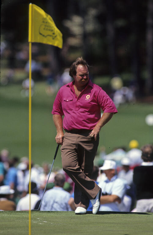 Craig Stadler waiting his turn on the green during the 1990 Masters