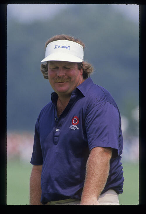 Craig Stadler looking rueful on the green during the 1989 USPGA