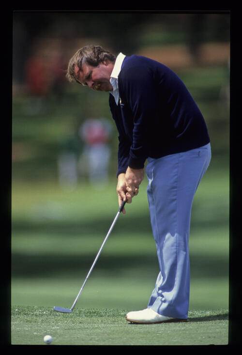 Craig Stadler sending a putt on its way during the 1989 Masters