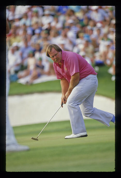 Craig Stadler getting excited on the green during the 1988 Masters
