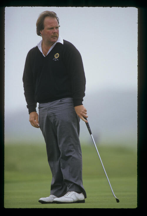Craig Stadler looking accusingly after putting during the 1987 Open Championship