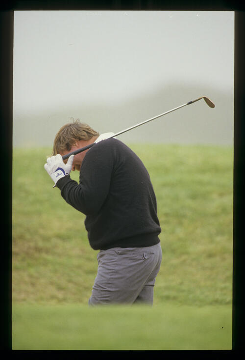 Craig Stadler looking unhappy in a bunker during the 1987 Open Championship