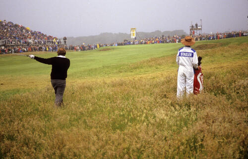Craig Stadler in deep trouble in thick rough during the 1987 Open Championship