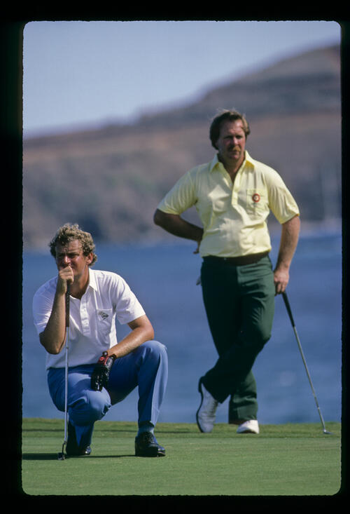 Winner, Sandy Lyle and third placed Craig Stadler on the green together during the 1984 Kapalua International