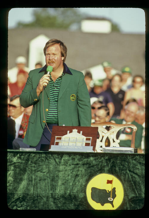 Craig Stadler making his victory speech after winning the 1982 Masters