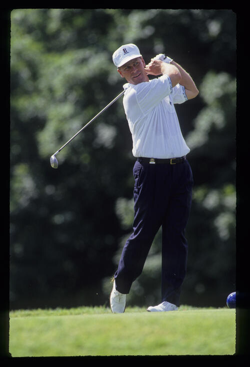 Hal Sutton following through on the tee during the 1991 US Open
