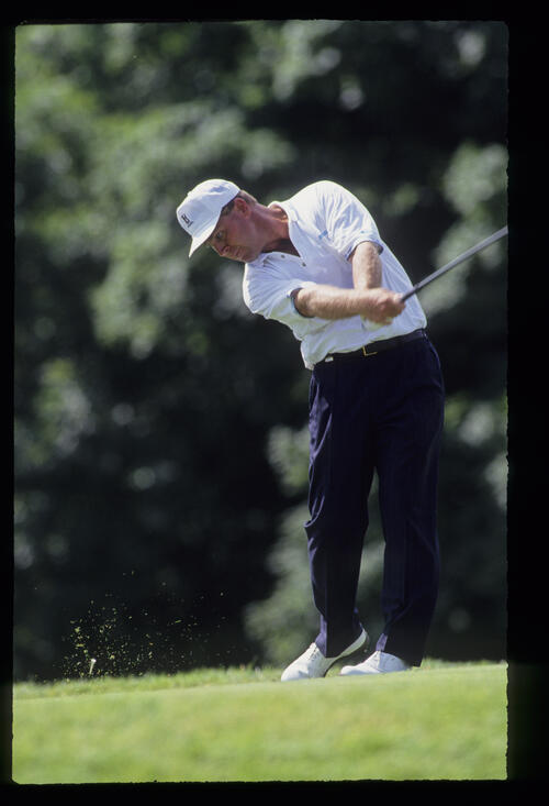 Hal Sutton staying down through the ball on the tee during the 1991 US Open