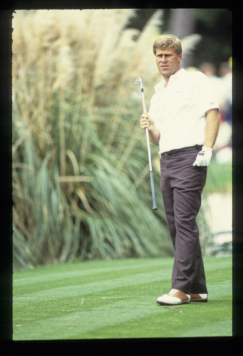 Hal Sutton watching his tee shot closely during the 1989 Masters