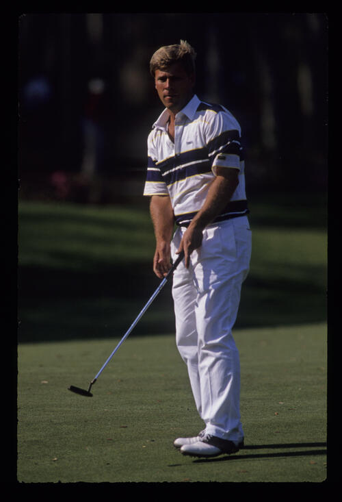 Hal Sutton stepping after his putt during the 1989 TPC