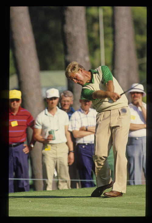 Hal Sutton staying down through the ball during the 1987 Masters