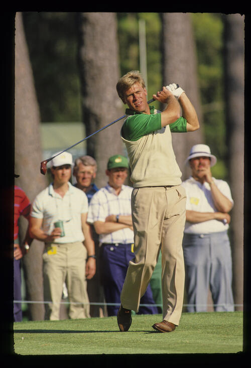 Hal Sutton following through on the tee during the 1987 Masters