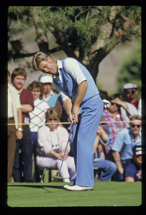 Hal Sutton sending a putt on its way during the 1987 TPC