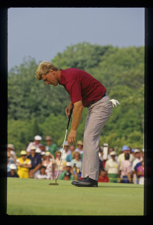 Hal Sutton showing on the green after missing a putt during the 1986 US Open