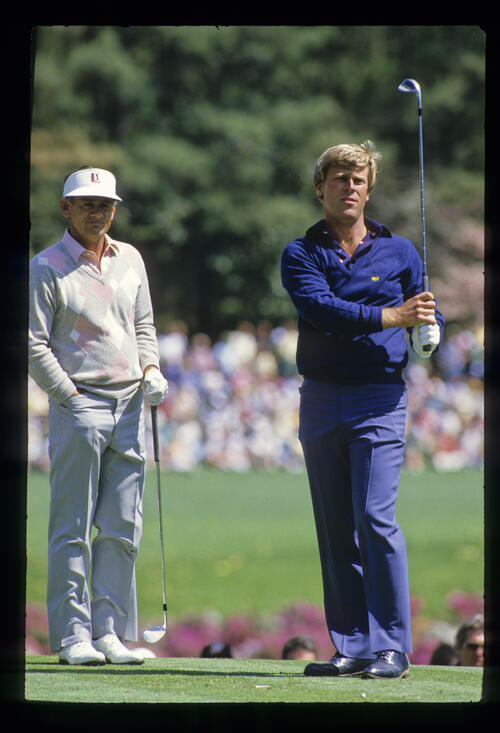 Hal Sutton and David Graham on the tee together during the 1986 Masters