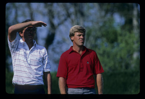 Hale Irwin and Hal Sutton on the tee together during the 1986 TPC
