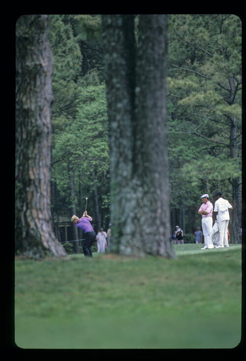 Hal Sutton through the trees during the 1986 Sea Pines Heritage Classic