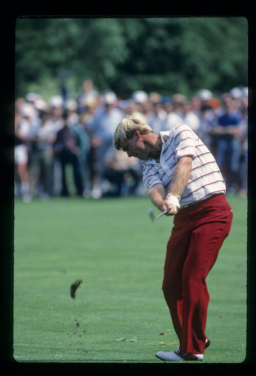Hal Sutton just after impact on the fairway during the 1984 US Open
