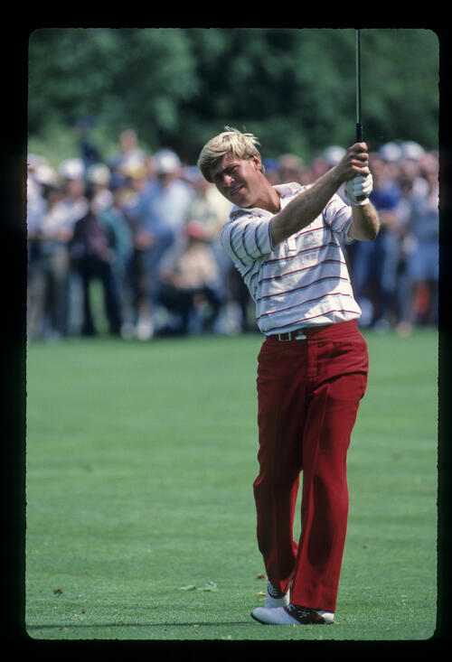 Hal Sutton following through on the fairway during the 1984 US Open