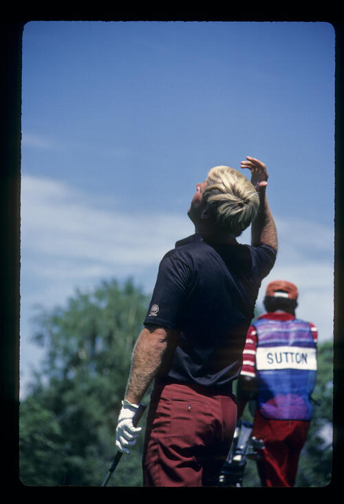 Hal Sutton showing emotion and looking to the sky on the tee during the 1984 US Open