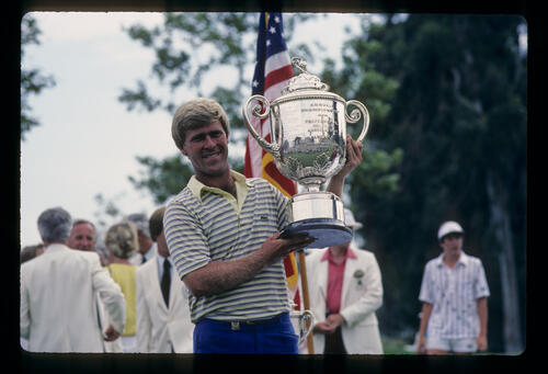 Hal Sutton holding aloft the trophy after winning the 1983 USPGA