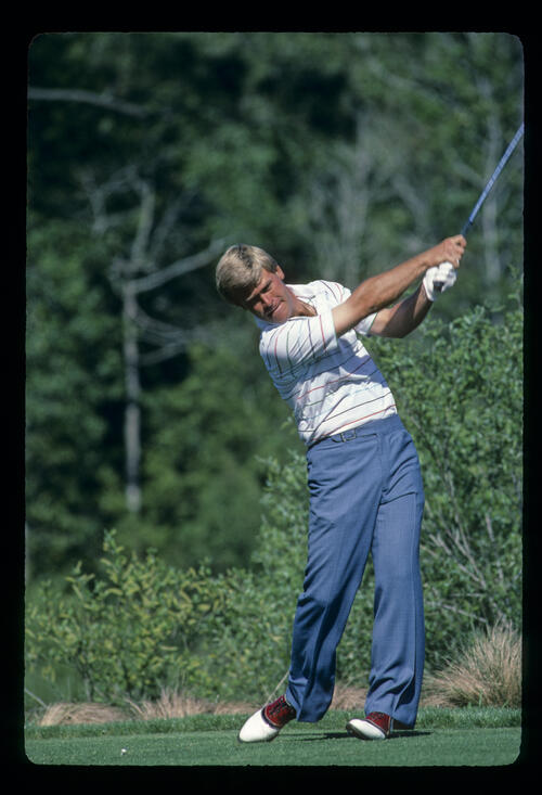 Hal Sutton following through on the tee during the 1984 TPC