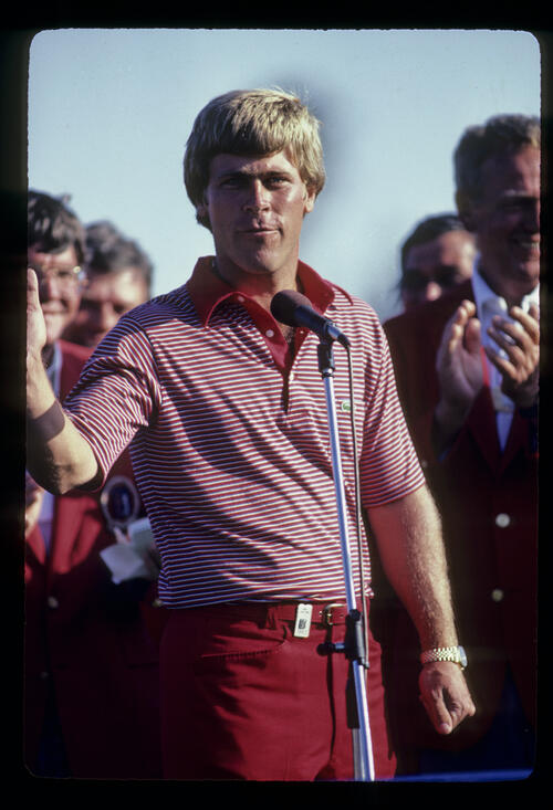 Hal Sutton acknowledging the crowd after winning the 1983 TPC