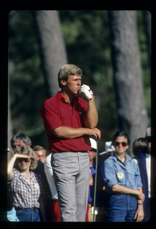 Hal Sutton looking thoughtful on the tee during the 1986 Masters