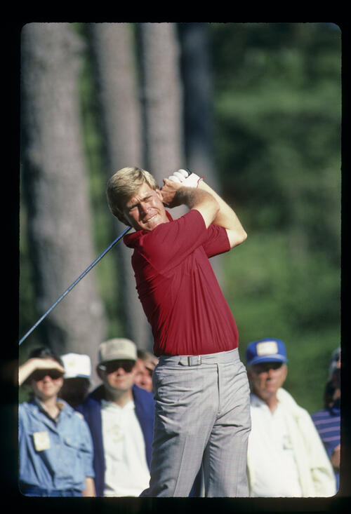 Hal Sutton hands high on the tee during the 1986 Masters