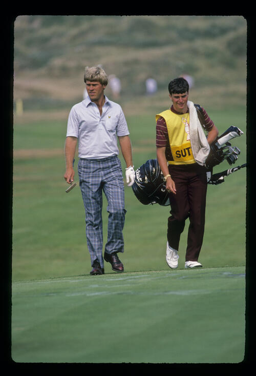 Hal Sutton and his caddie approaching the green during the 1983 Open Championship
