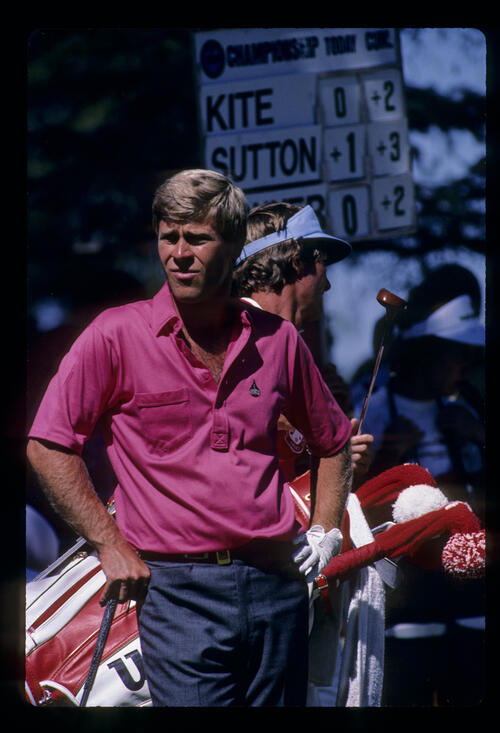 Hal Sutton looking thoughtful on the tee during the 1986 USPGA