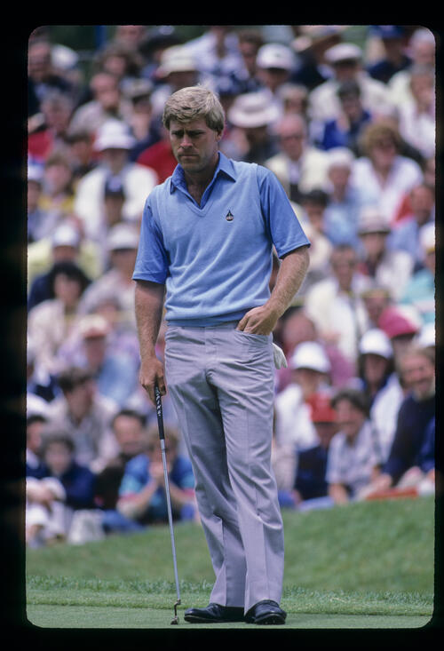 Hal Sutton considering a putt during the 1985 US Open