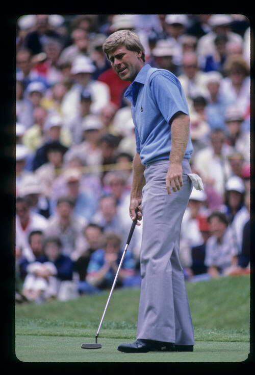 Hal Sutton looking perturbed by a putt during the 1985 US Open