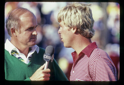 Hal Sutton being interviewed after winning the 1983 TPC