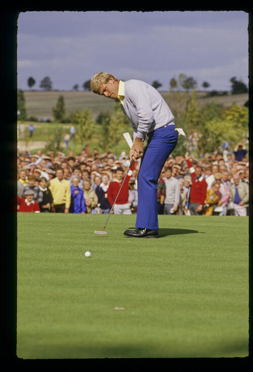 Hal Sutton sending a putt on its way during the 1985 Ryder Cup