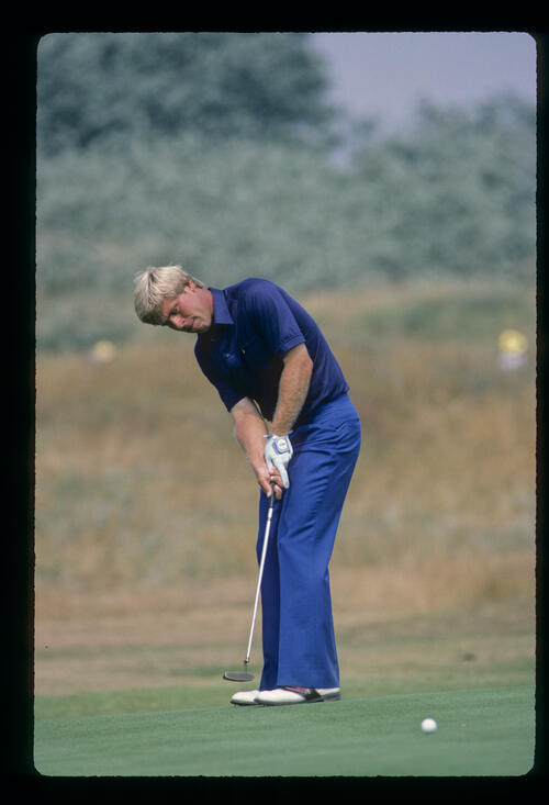 Hal Sutton sending a putt on its way during the 1983 Open Championship