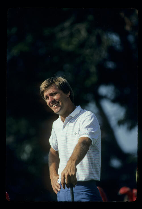 Hal Sutton smiling on his way to winning the 1983 USPGA
