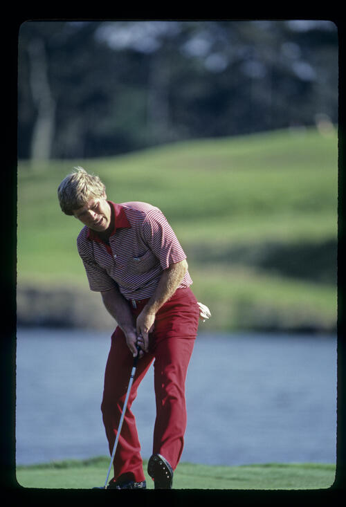 Hal Sutton stepping after his putt on his way to winning the 1983 TPC