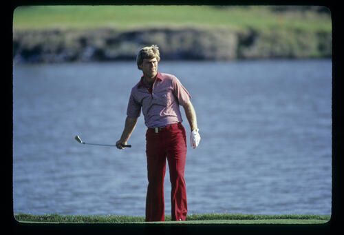 Hal Sutton urging on a chip and run on his way to winning the 1983 TPC