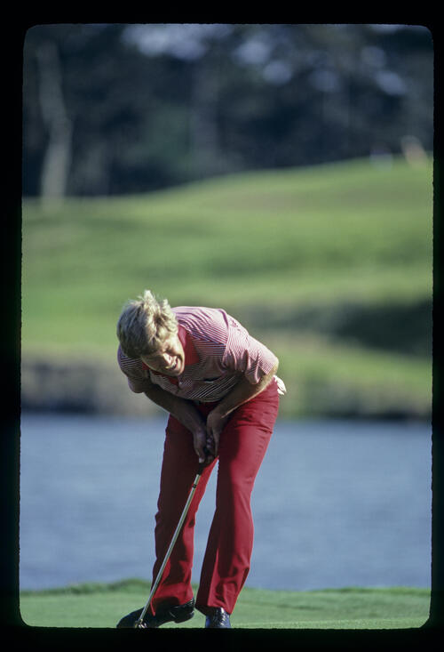 Hal Sutton shouting after a putt on his way to winning the 1983 TPC