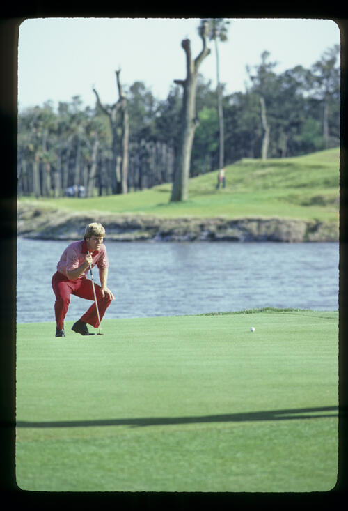 Hal Sutton lining up a putt on his way to winning the 1983 TPC