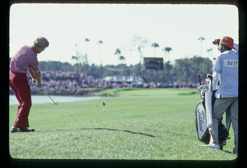 Hal Sutton hitting an approach shot on his way to winning the 1983 TPC