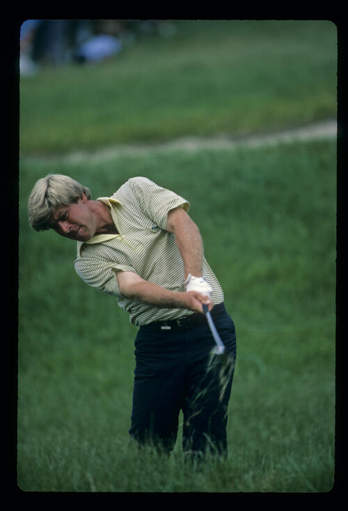 Hal Sutton in very thick rough during the 1983 US Open