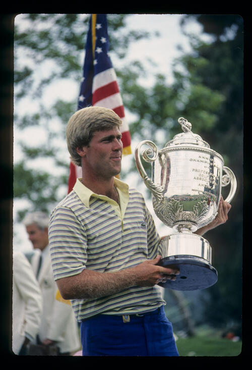 Hal Sutton holding the trophy after winning the 1983 USPGA